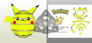 Pokemon Mini Pikachu Egg/Ball/Chibi Papercraft 03 by HellswordPapercraft