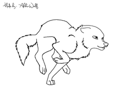 Running Wolf Lineart FREE by Ahiku-wolf