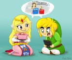 Zelda and Link Playing 3DS by peanutfilbert