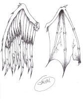 Wing Tattoo Design by MidnightsMisery