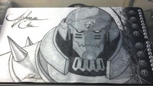 Custom art Alphonse Elric playmat by pendoodle