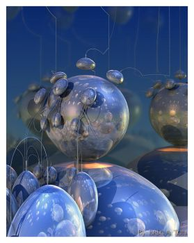 Metallic Abstract in Blue by EricTonArts