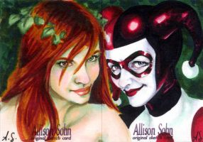 Harley and Ivy Sketch Cards by AllisonSohn