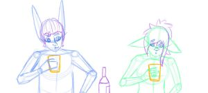 WIP: Spoons and Azeria Drinking Animation by JumiKazu