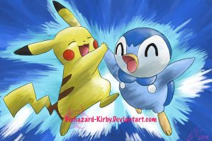 Pikachu and Piplup by Biohazard-kirby