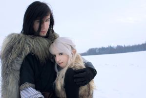 Couple Stock, snow elf+ viking by Liancary-Stock