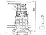Dalek Cartoon Line Drawing by TorchwoodWerewolf