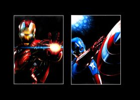 Iron Man and Captain America ACEO sketch cards by AstroVisionary