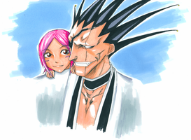 Kenpachi and Yachiru by jessicacicca