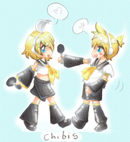 Chibis Kagamines Twins by SloppyInk