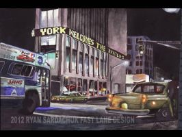 Manhattan Night Circa 1975 (painting) by FastLaneIllustration