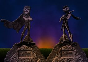 Statues at sunset. by Skele
