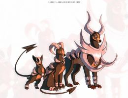 Mega Houndoom , Houndoom and Houndour by francis-john