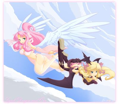 Angels and devils fly together by pandami