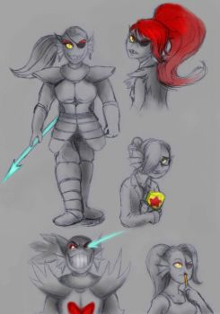 Undertale - Undyne Sketches by lyoth737
