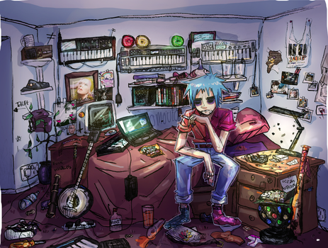 2d's room by omoulo