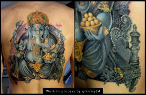 Ganesha tattoo WIP 8 by grimmy3d