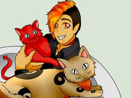 Deko and his cats by AskPrincessEmia