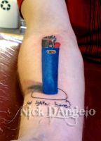 Super 3D BIC Lighter Tattoo by NickDAngeloTattoos