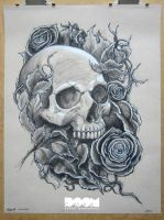 Skull and Roses Work 1 front face by DoomCMYK