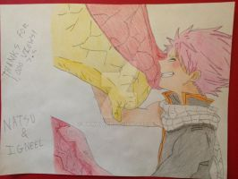 Thanks For 1,000 Pageviews - Natsu + Igneel Style by Pikawolf11
