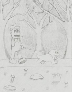 Walking The Ghost Dog by Sketch-It-Skip