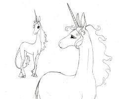 last unicorn sketch by Hiwi