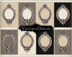 Printable beige and black ATC backgrounds by VectoriaDesigns