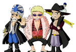 Absalom, Doflamingo and Mihawk by Isara-La