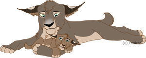 Lynx with cub by coolrat
