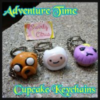 Adventure Time Cupcake Keychains Jake, Finn, LSP by SwirlyCitrus