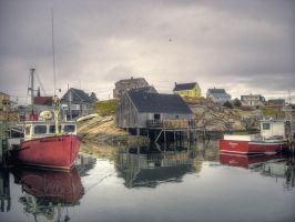 Peggys Cove Village in April by ShawnaMac