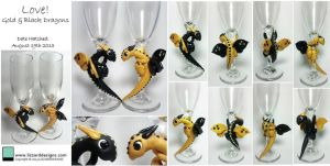 Black and Gold Stemware Dragons by lizzarddesigns