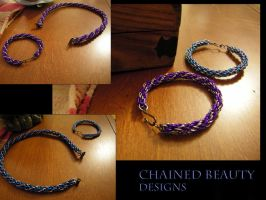 Blue and Purple Bracelets by ChainedBeauty