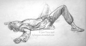 Laying Down Man Pencil Drawing by HylianJean
