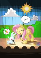 Fluttershy and Angel Singing by mysticalpha
