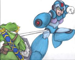 Link vs megaman by LadyJekyll1124
