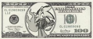 Ghost on a $100 Bill by GhosttheHedgehog12