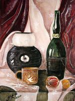 Still Life with a wine bottle by classicfan