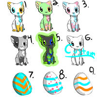 Mixed Kitty Adopts! -CHEAP!- by FUNKIferret