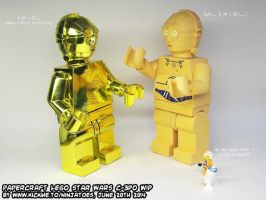 papercraft LEGO Threepio meets paper LEGO Threepio by ninjatoespapercraft