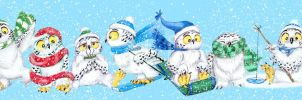 Snow Owls Winter Fun by bigcatdesigns