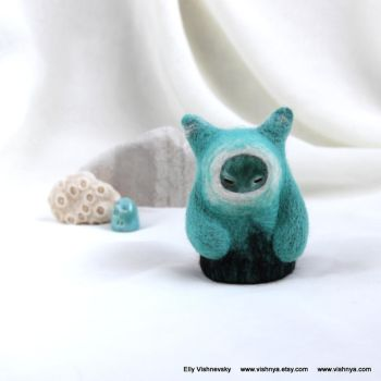 Needle felt turquoise Small kindly Spirit by vavaleff