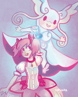 Madoka and Mega Audino by kittehmeow