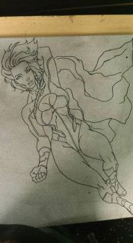 Crater City Comix Tombs WIP Power Girl ink by Wolfgang-Blaine