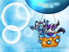 Weasel + Kitti's Balloon Ride by violetomega