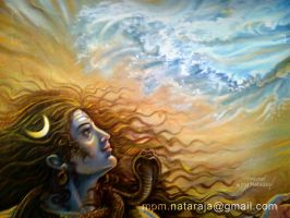 Shiva's face in oil by thandav