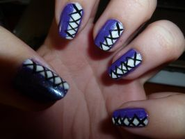 Purple Corset Nail Art by kkmaree