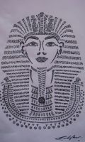 Egyptian King, Asemic Drawing by delsando