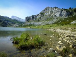 Picos de Europa 104 - Mountain lake and ducks by HermitCrabStock